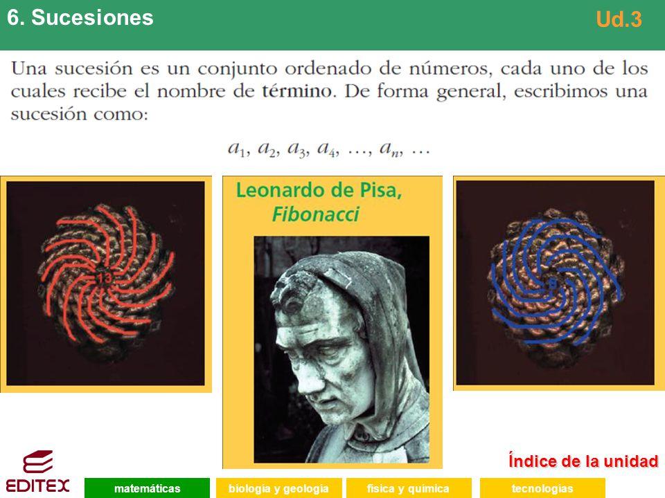 6. Sucesiones Ud.3 Índice de la unidad matemáticas biología y geología