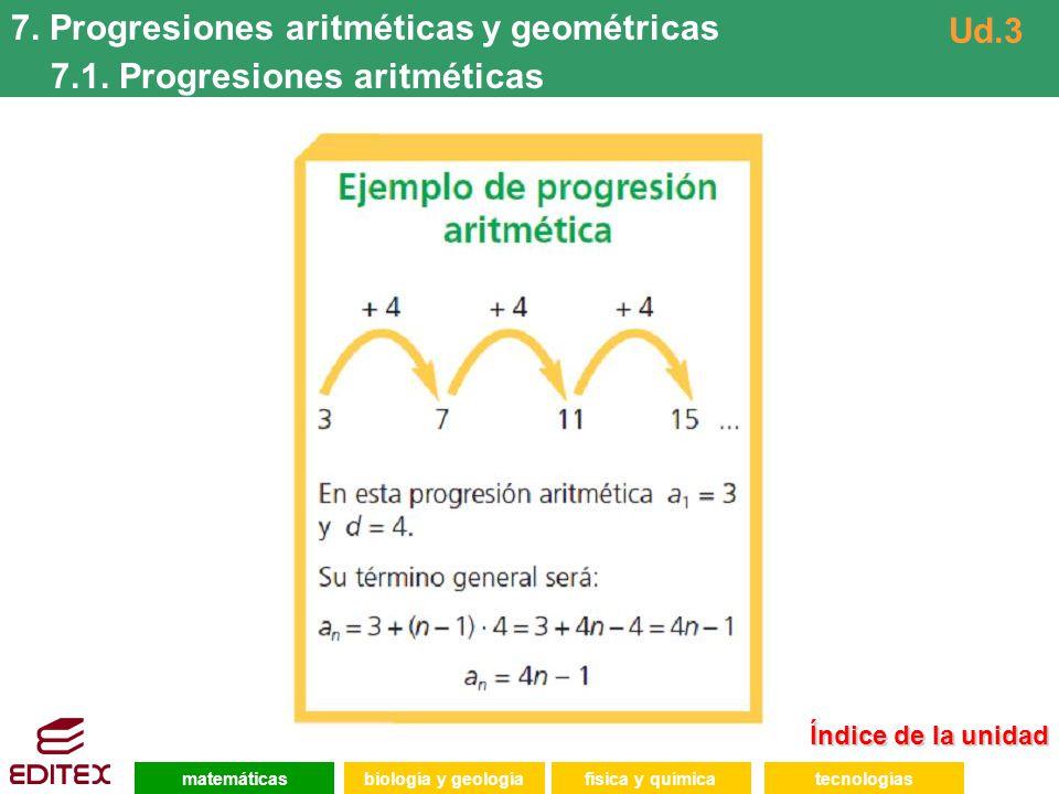 7. Progresiones aritméticas y geométricas