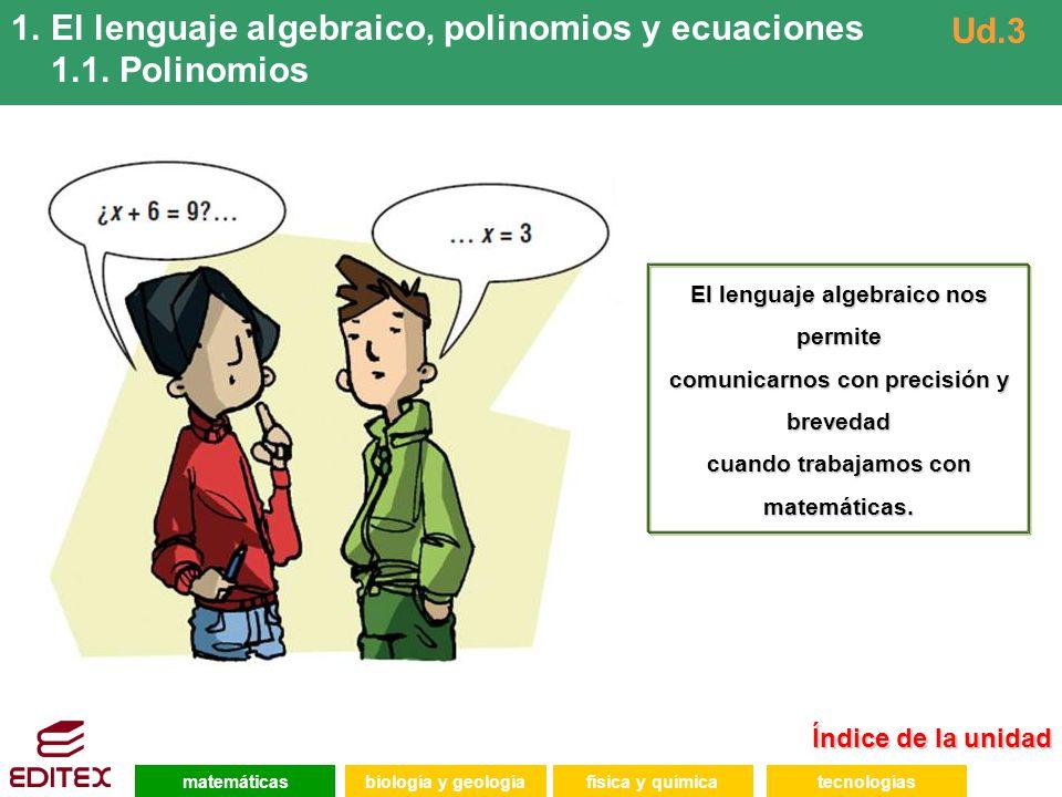 El lenguaje algebraico, polinomios y ecuaciones 1.1. Polinomios Ud.3