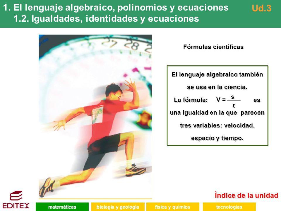 El lenguaje algebraico, polinomios y ecuaciones