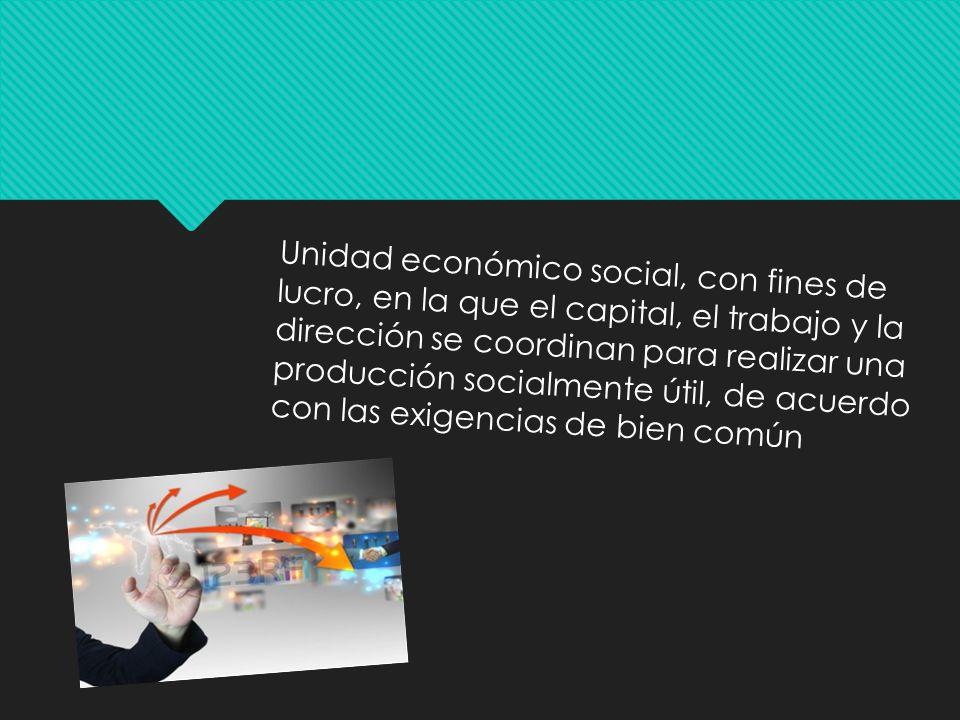 Unidad económico social, con fines de lucro, en la que el capital, el trabajo y la dirección se coordinan para realizar una producción socialmente útil, de acuerdo con las exigencias de bien común