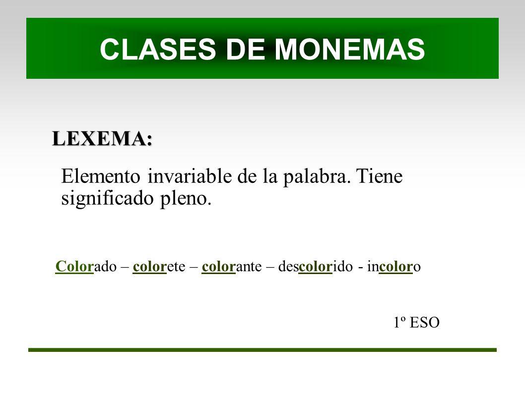 CLASES DE MONEMAS LEXEMA: