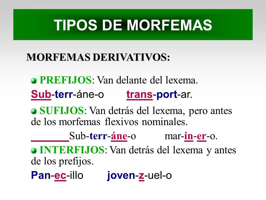TIPOS DE MORFEMAS MORFEMAS DERIVATIVOS: