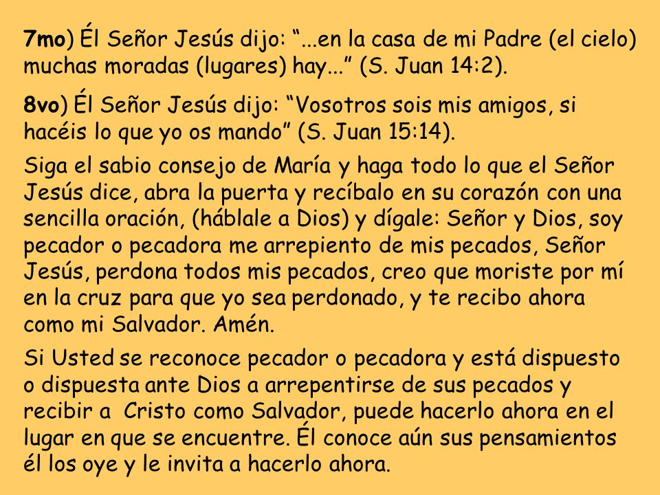 7mo) Él Señor Jesús dijo: