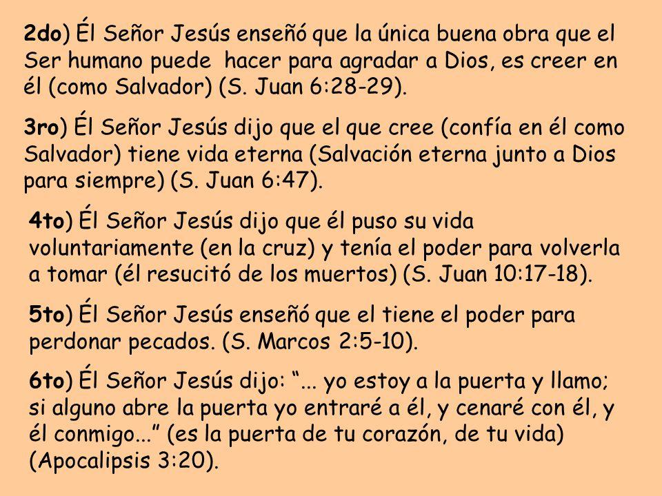 2do) Él Señor Jesús enseñó que la única buena obra que el Ser humano puede hacer para agradar a Dios, es creer en él (como Salvador) (S. Juan 6:28-29).