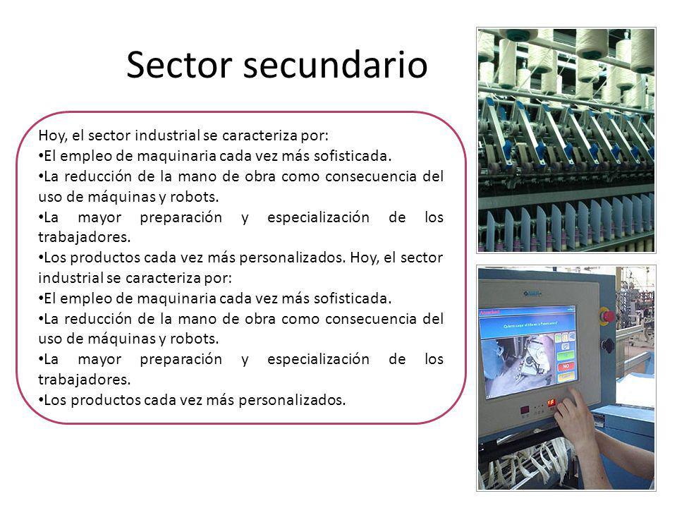 Sector secundario Hoy, el sector industrial se caracteriza por:
