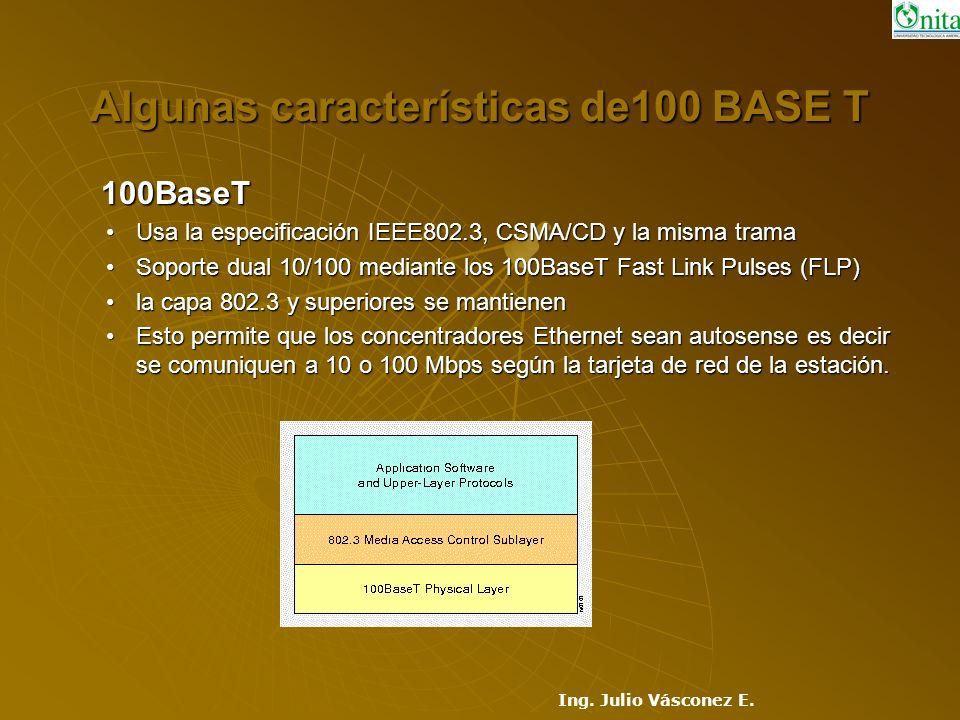 Algunas características de100 BASE T