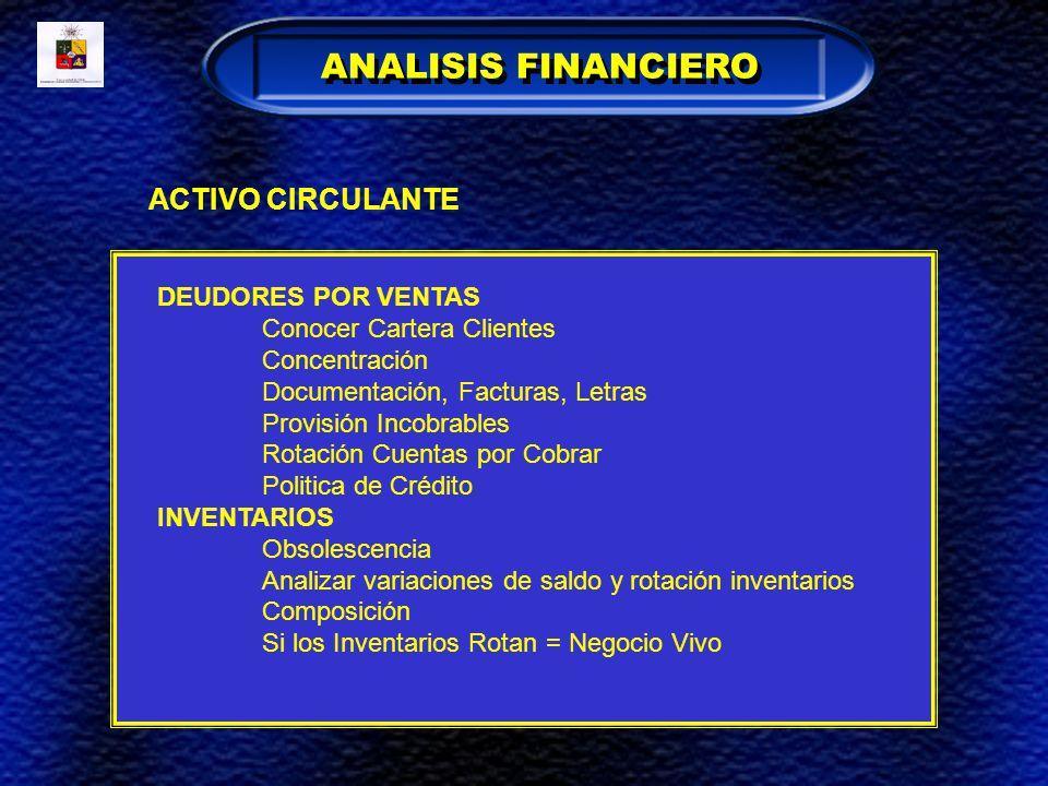 ANALISIS FINANCIERO ACTIVO CIRCULANTE DEUDORES POR VENTAS