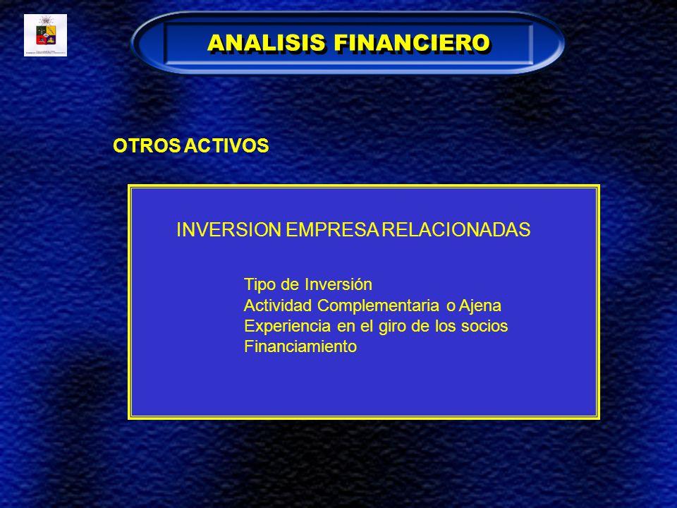 ANALISIS FINANCIERO Tipo de Inversión OTROS ACTIVOS