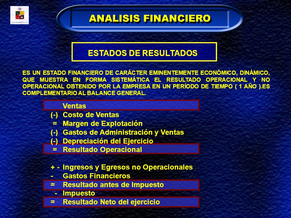 ANALISIS FINANCIERO ESTADOS DE RESULTADOS (-) Costo de Ventas