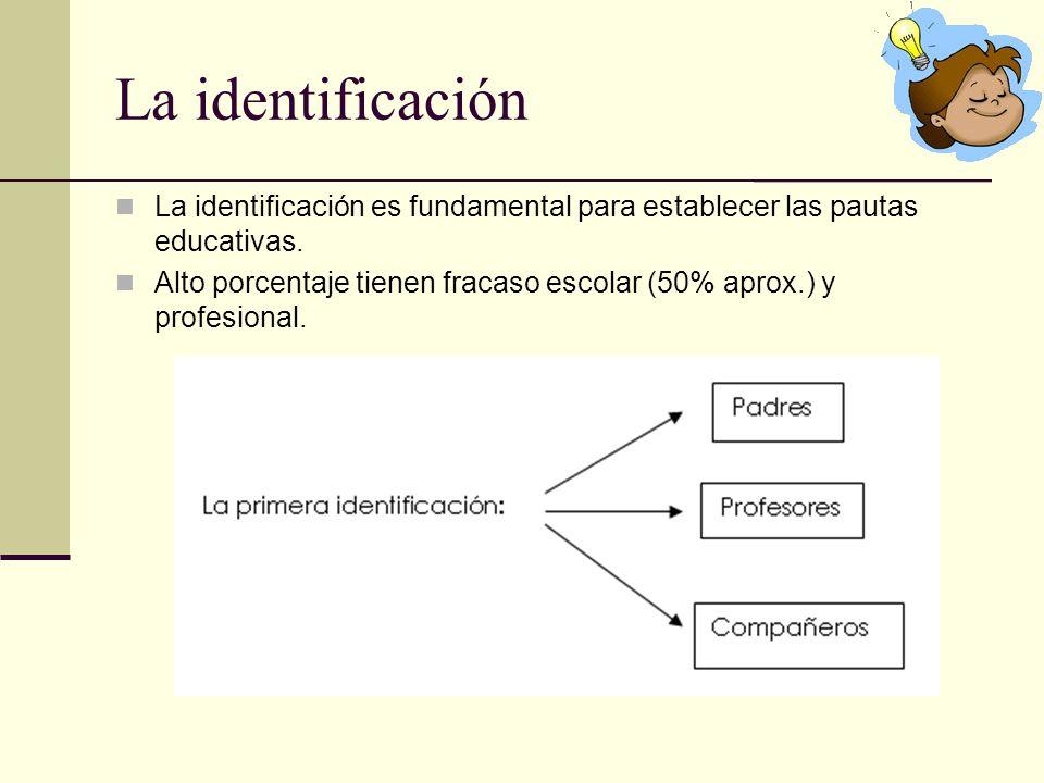 La identificación La identificación es fundamental para establecer las pautas educativas.