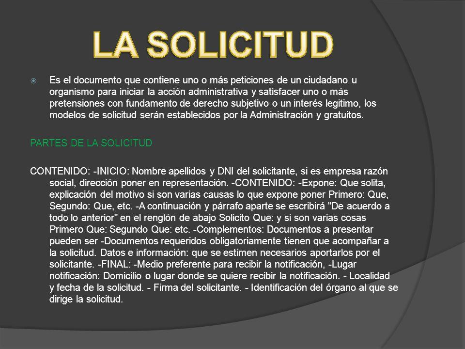 LA SOLICITUD