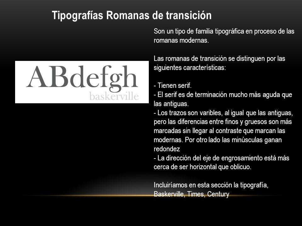 Tipografías Romanas de transición