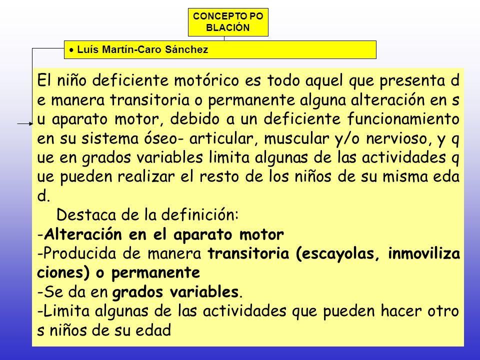 Destaca de la definición: Alteración en el aparato motor