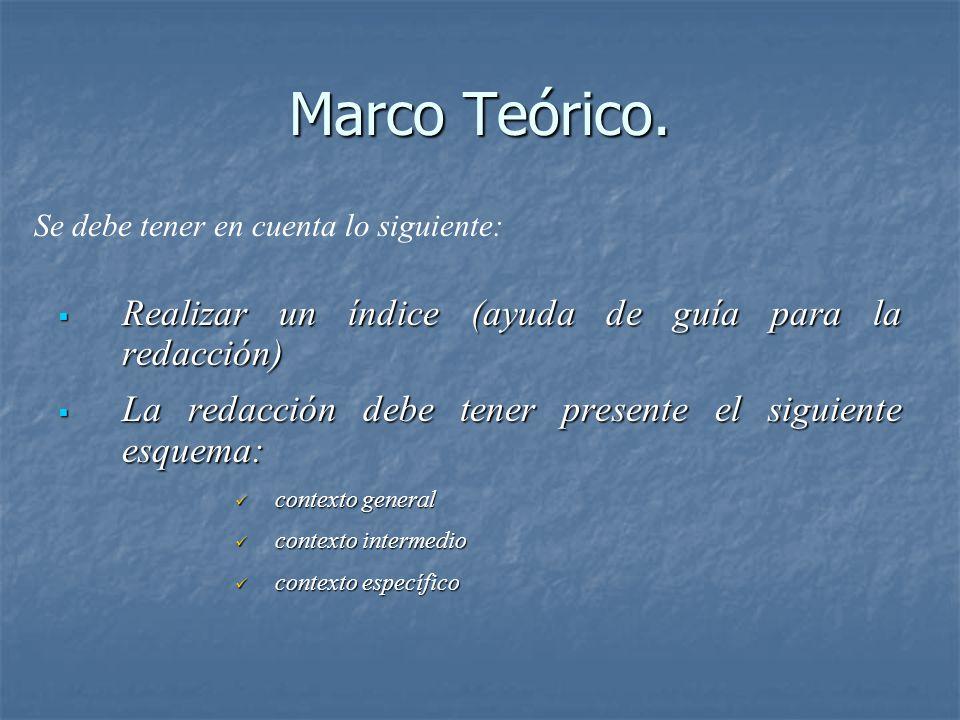 Marco Teórico. Realizar un índice (ayuda de guía para la redacción)