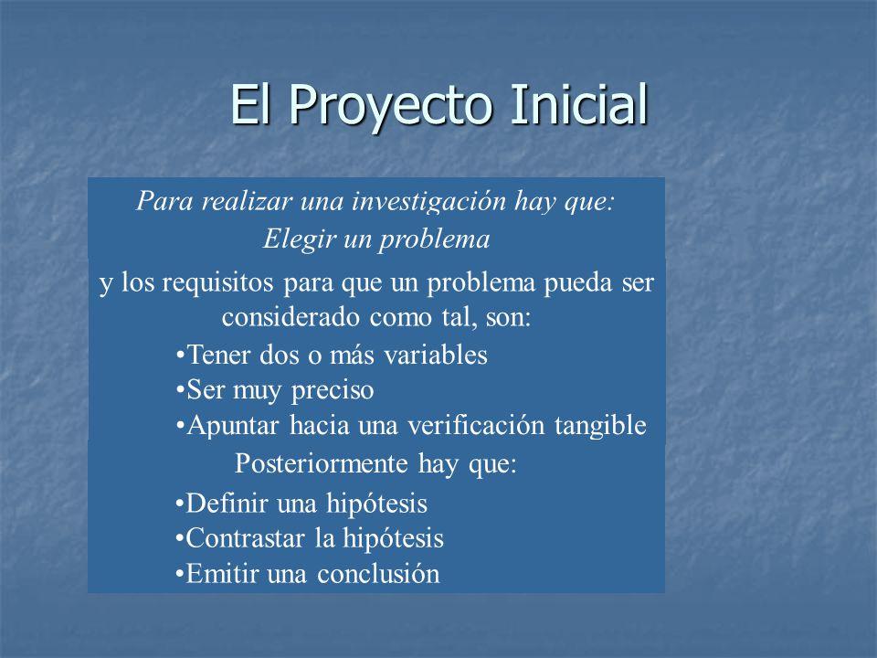 El Proyecto Inicial Para realizar una investigación hay que: