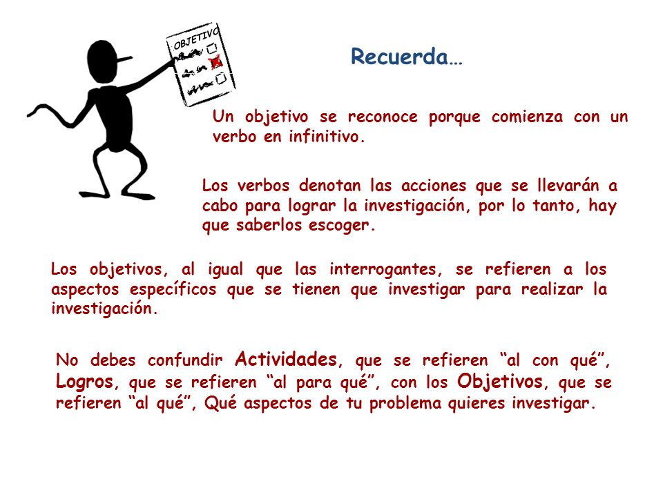 OBJETIVOS Recuerda… Un objetivo se reconoce porque comienza con un verbo en infinitivo.