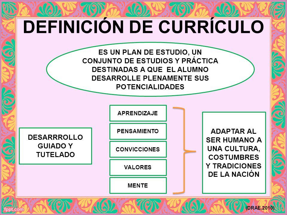 DEFINICIÓN DE CURRÍCULO