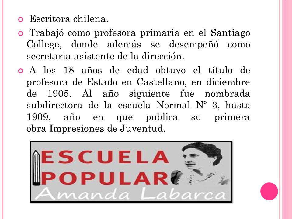 Escritora chilena. Trabajó como profesora primaria en el Santiago College, donde además se desempeñó como secretaria asistente de la dirección.