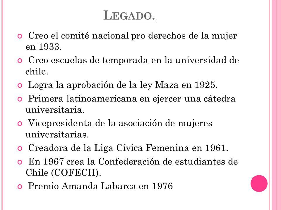 Legado. Creo el comité nacional pro derechos de la mujer en 1933.