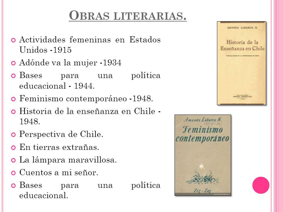 Obras literarias. Actividades femeninas en Estados Unidos -1915
