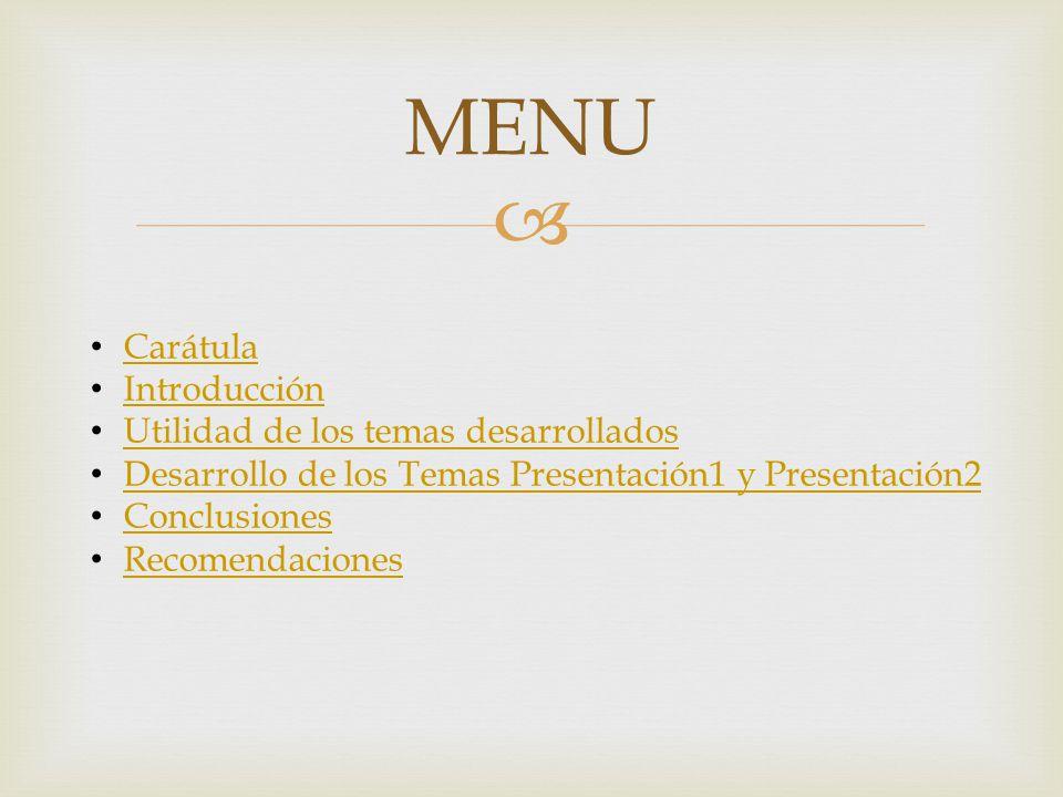 MENU Carátula Introducción Utilidad de los temas desarrollados