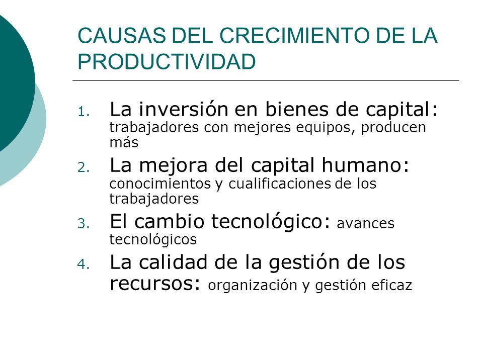CAUSAS DEL CRECIMIENTO DE LA PRODUCTIVIDAD