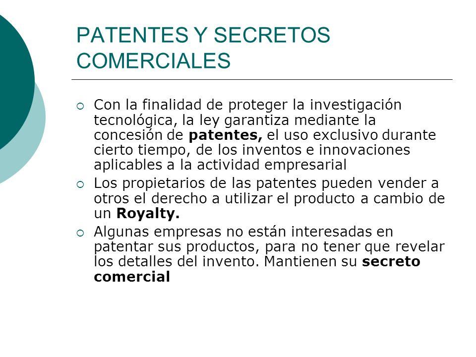 PATENTES Y SECRETOS COMERCIALES