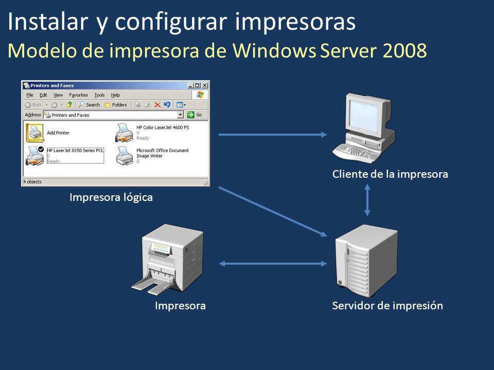 Instalar y configurar impresoras Modelo de impresora de Windows Server 2008