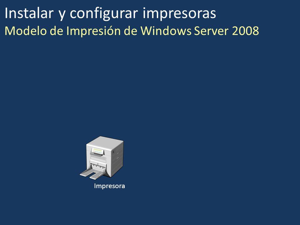 Instalar y configurar impresoras Modelo de Impresión de Windows Server 2008
