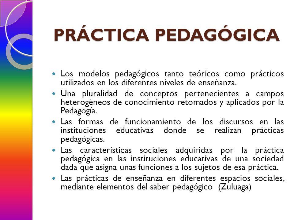 PRÁCTICA PEDAGÓGICA Los modelos pedagógicos tanto teóricos como prácticos utilizados en los diferentes niveles de enseñanza.