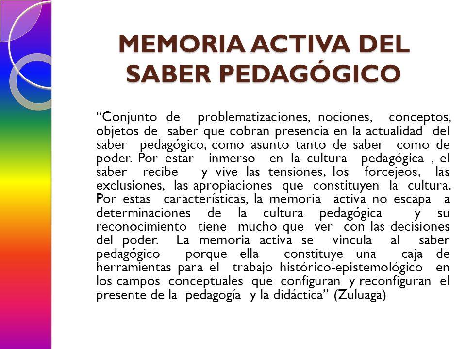 MEMORIA ACTIVA DEL SABER PEDAGÓGICO