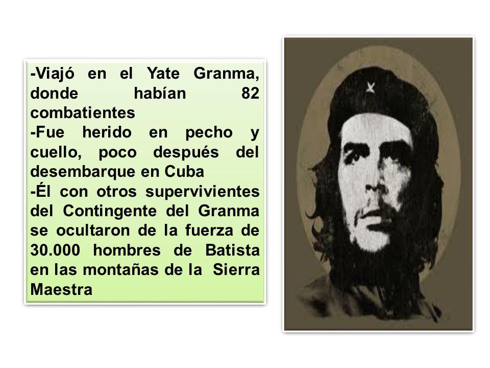 -Viajó en el Yate Granma, donde habían 82 combatientes