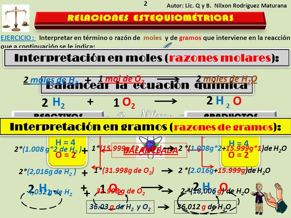 Lic. Q. B. Nilxon RoMa + 2 H2 + 1 O2 2 H + + 2 H2 + 1 O2 2 H +