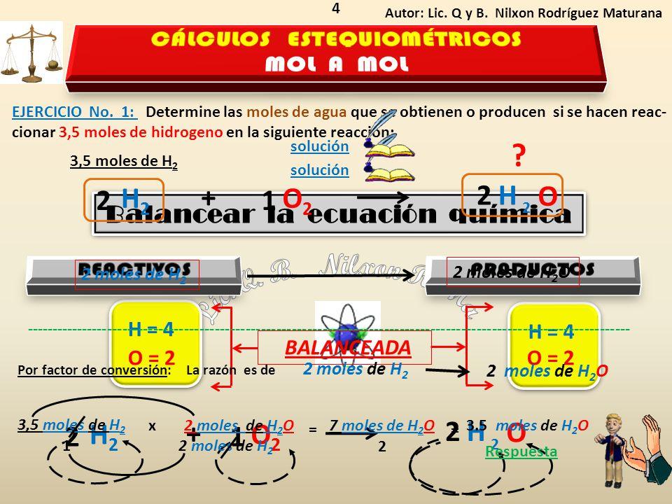 CÁLCULOS ESTEQUIOMÉTRICOS Balancear la ecuación química