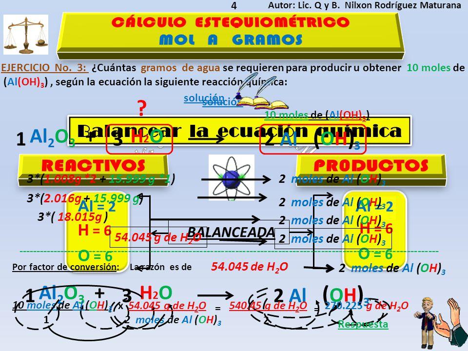 CÁLCULO ESTEQUIOMÉTRICO Balancear la ecuación química