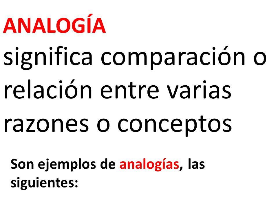 ANALOGÍA significa comparación o relación entre varias razones o conceptos