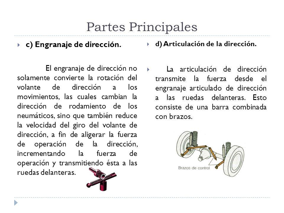 Partes Principales c) Engranaje de dirección.