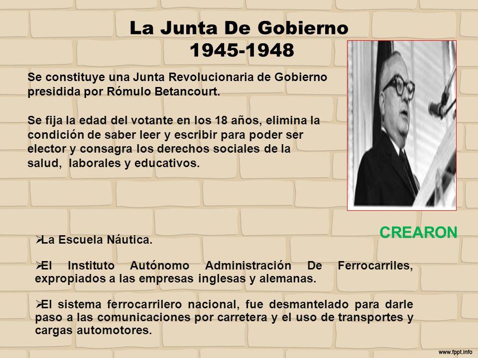 La Junta De Gobierno 1945-1948 CREARON