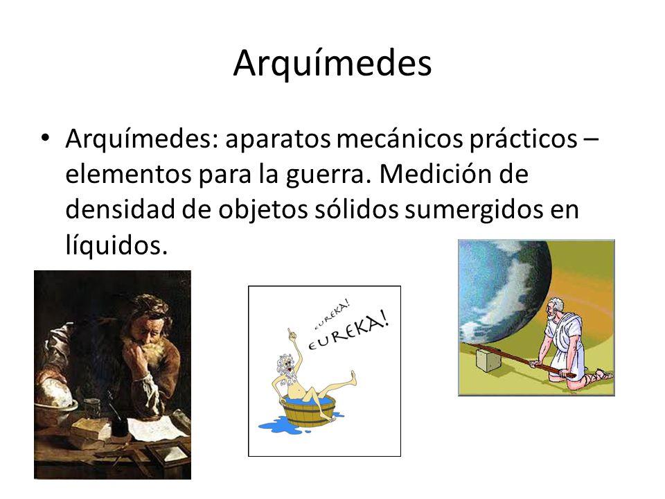 Arquímedes Arquímedes: aparatos mecánicos prácticos – elementos para la guerra.