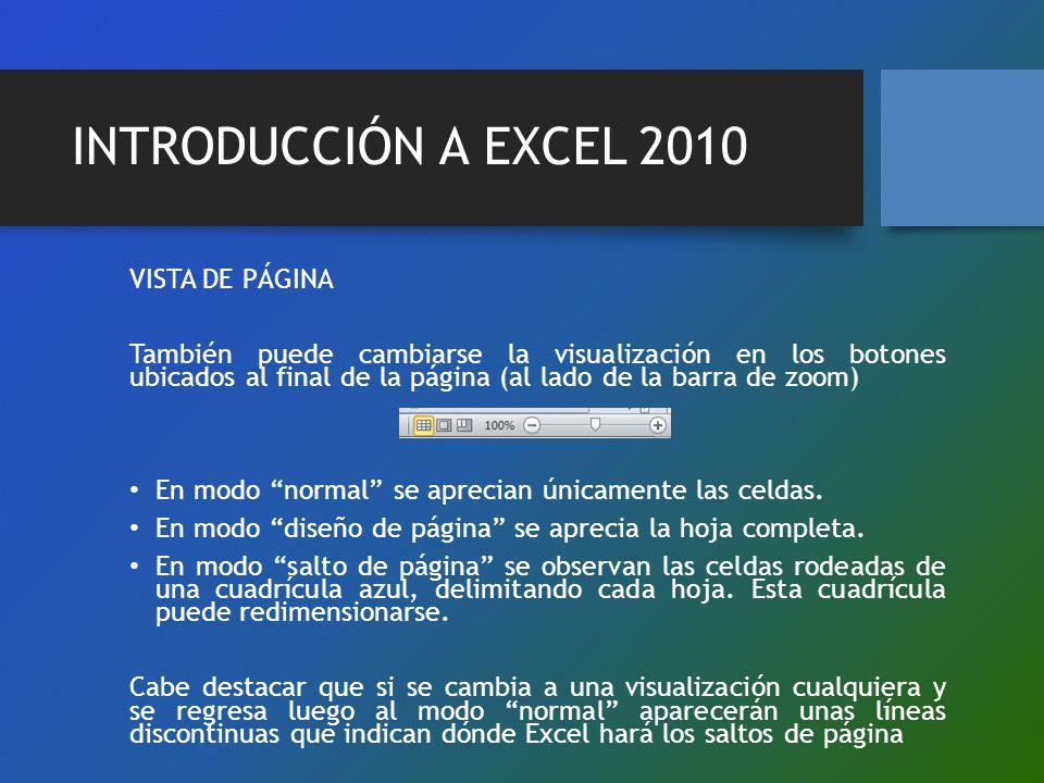 INTRODUCCIÓN A EXCEL 2010 VISTA DE PÁGINA