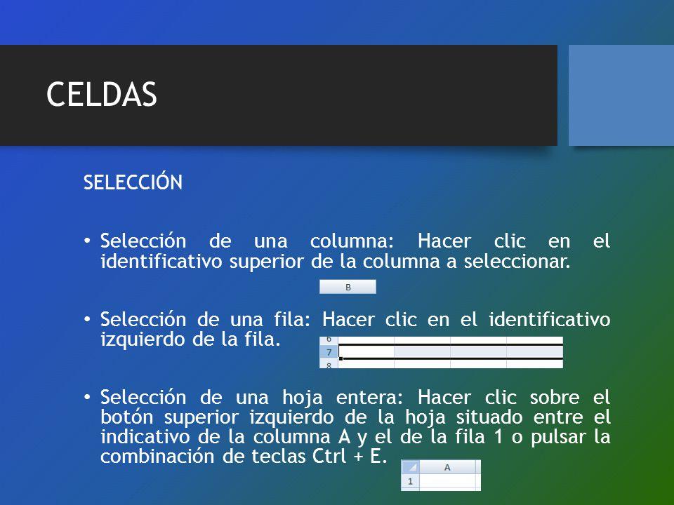 CELDAS SELECCIÓN. Selección de una columna: Hacer clic en el identificativo superior de la columna a seleccionar.