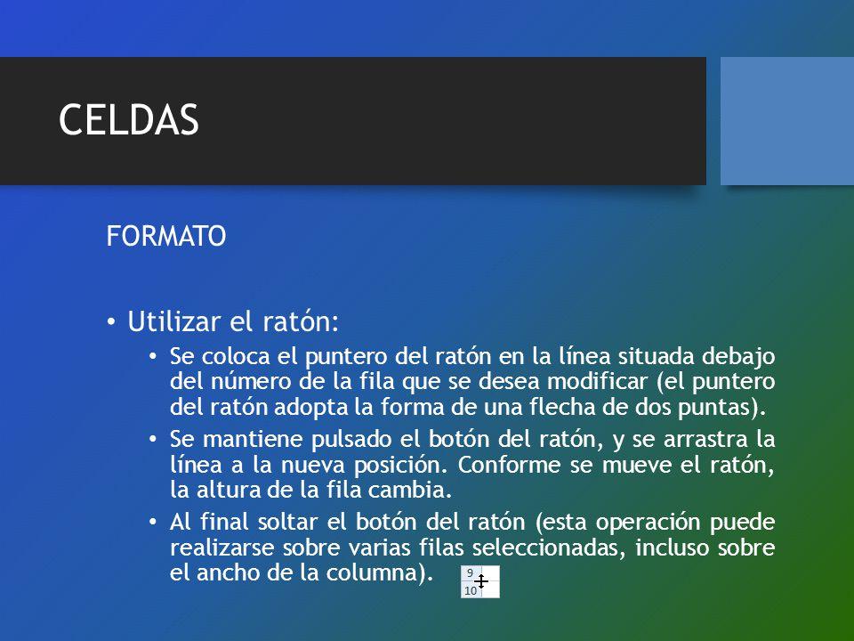 CELDAS FORMATO Utilizar el ratón: