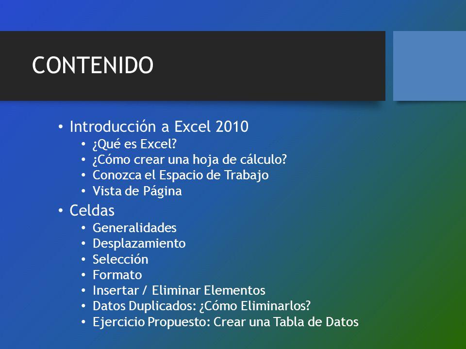 CONTENIDO Introducción a Excel 2010 Celdas ¿Qué es Excel