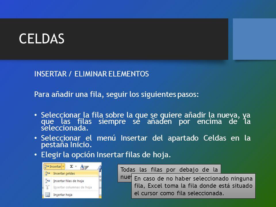 CELDAS INSERTAR / ELIMINAR ELEMENTOS