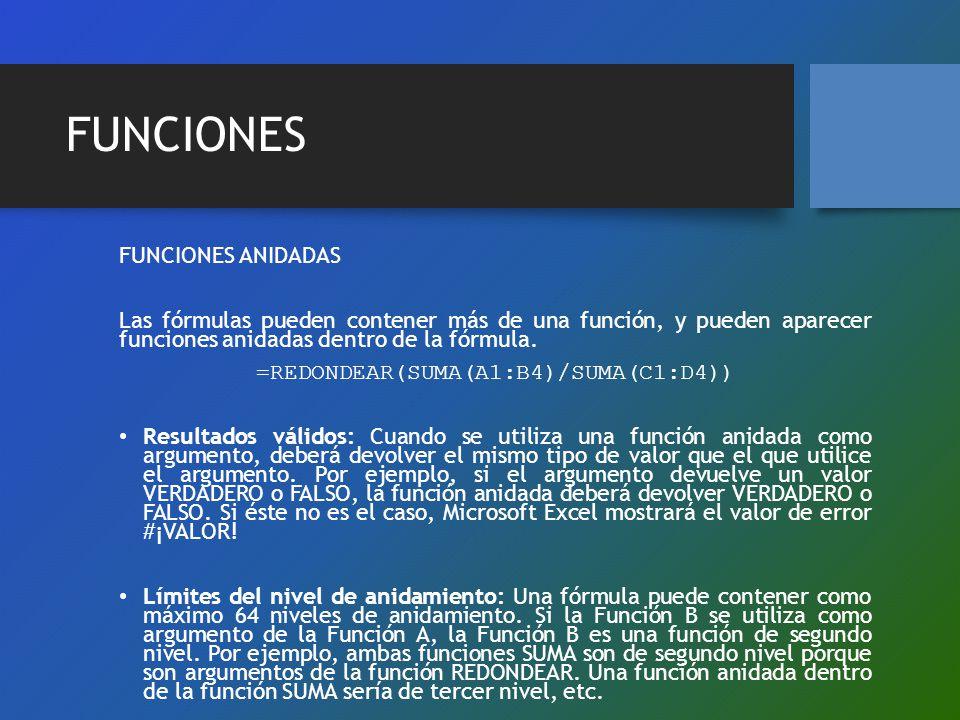 =REDONDEAR(SUMA(A1:B4)/SUMA(C1:D4))