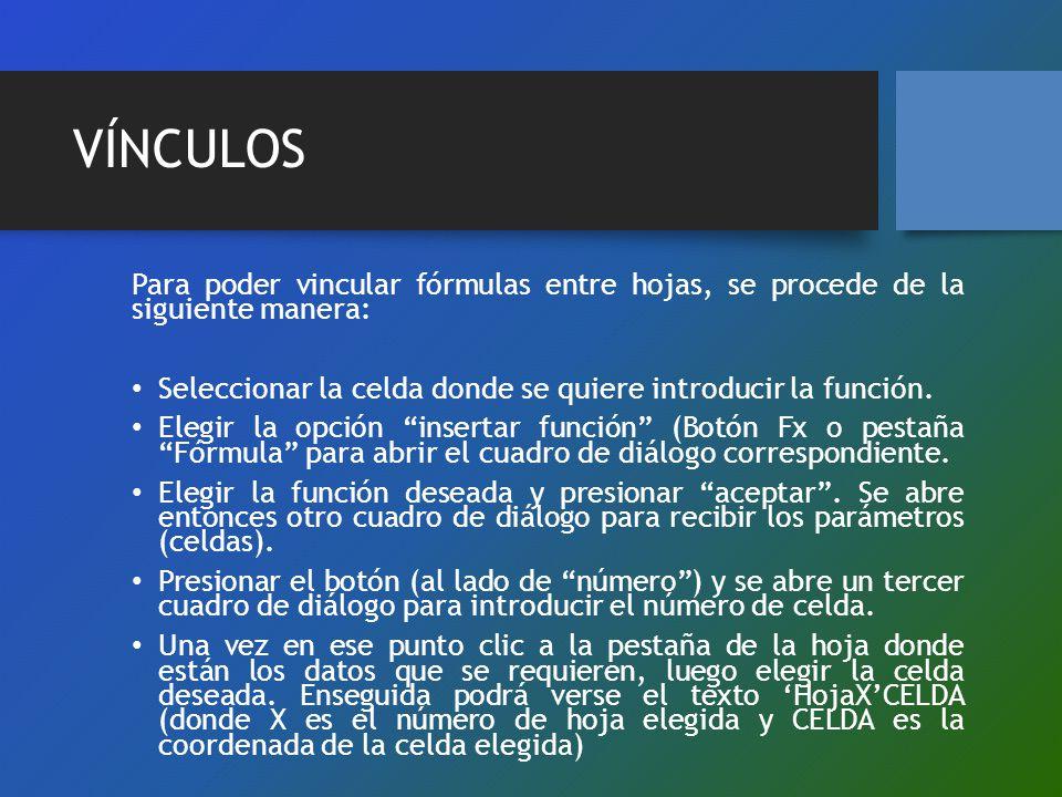 VÍNCULOS Para poder vincular fórmulas entre hojas, se procede de la siguiente manera: Seleccionar la celda donde se quiere introducir la función.