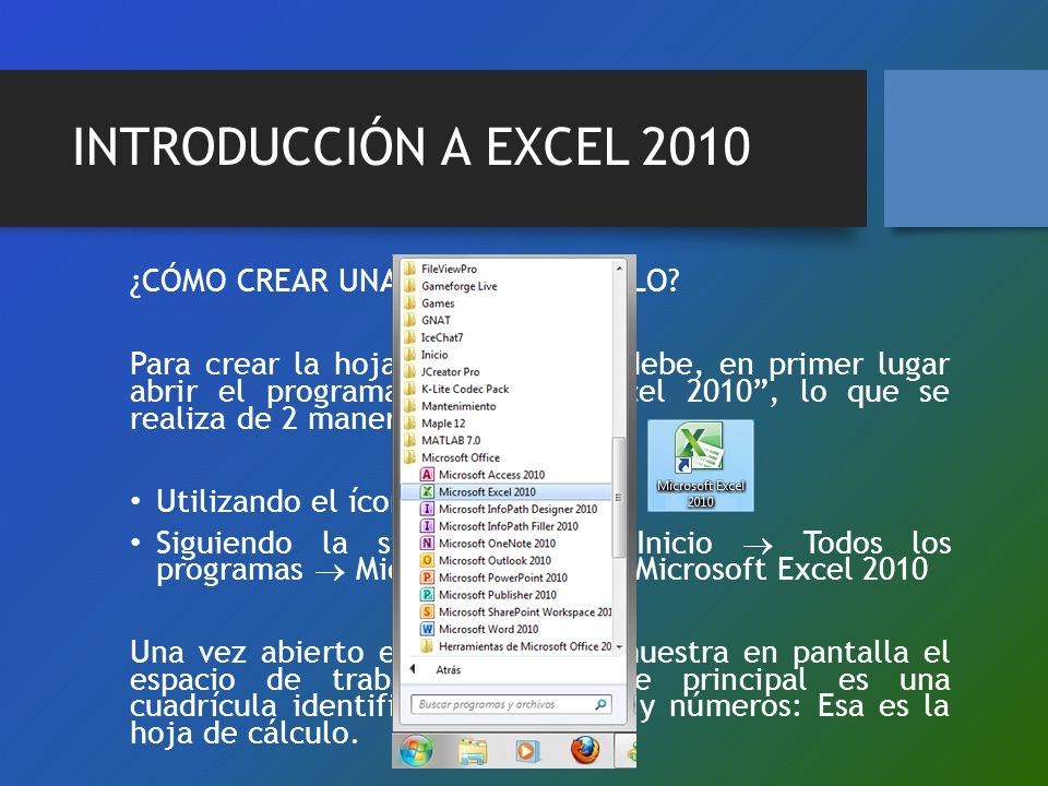 INTRODUCCIÓN A EXCEL 2010 ¿CÓMO CREAR UNA HOJA DE CÁLCULO