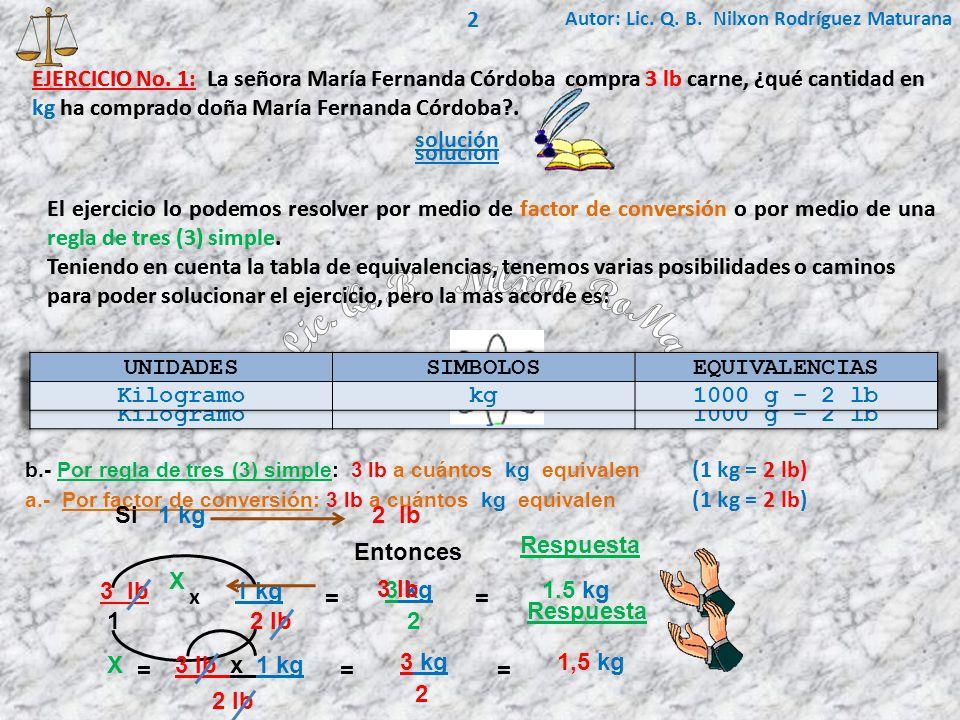 2 Autor: Lic. Q. B. Nilxon Rodríguez Maturana. EJERCICIO No. 1: La señora María Fernanda Córdoba compra 3 lb carne, ¿qué cantidad en.