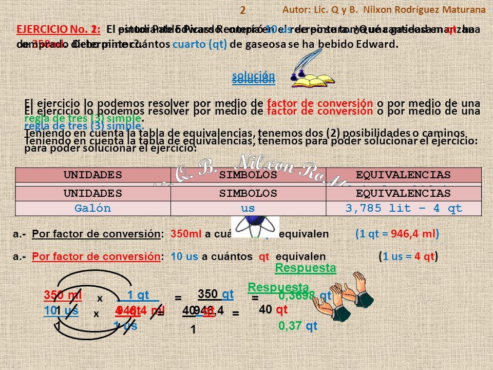 2 Autor: Lic. Q y B. Nilxon Rodríguez Maturana. EJERCICIO No. 2: El pintor Pablo Picasso compró 10 us de pintura. ¿Qué cantidad en qt ha.